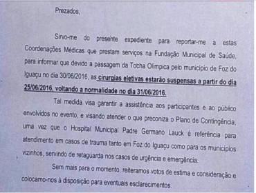 Hospital de Foz suspende 30 cirurgias eletivas para dar atenção a  passagem da tocha olímpica pelo municipio